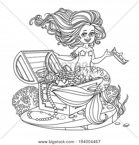 Beautiful Little Mermaid Girl Is Sitting On A Treasure Chest And Keep The Crown On The Hand Outlined