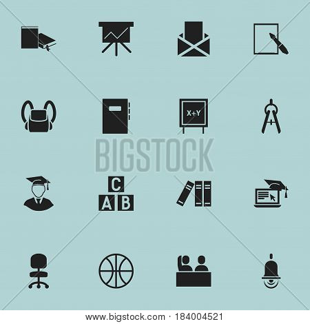 Set Of 16 Editable Graduation Icons. Includes Symbols Such As Student, Distance Learning, Bookshelf And More. Can Be Used For Web, Mobile, UI And Infographic Design.