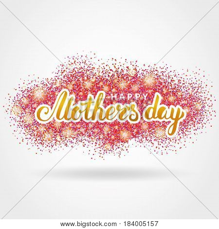 Happy Mother day pink glitter background. Gold calligraphy backdrop for greeting card flyer poster sign banner web header. Abstract sparkle texture mother day. Red blur light design