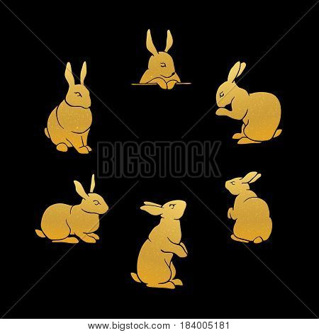 Rabbit Gold Silhouettes