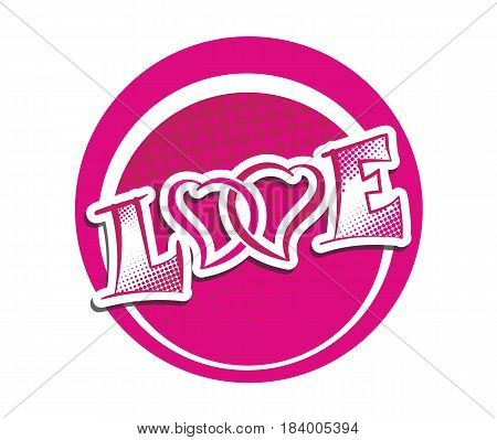 Word Love with two crossed hearts pair in love symbol. Romantic feelings red vector illustration. Vallentines Day label template.
