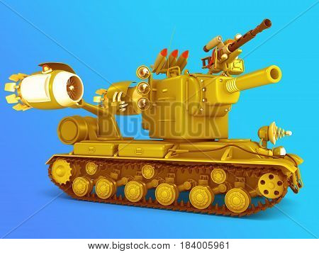 Sci-fi big tank 3D render. Fantastic military equipment.