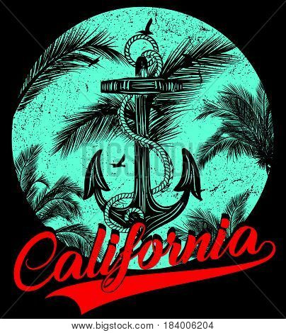 California - vector illustration concept in vintage graphic style for t-shirt and other print production. Palms; wave and sun vector illustration. Design elements.