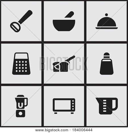 Set Of 9 Editable Cook Icons. Includes Symbols Such As Hand Mixer, Shredder, Oven. Can Be Used For Web, Mobile, UI And Infographic Design.