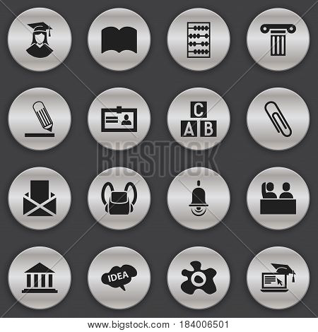 Set Of 16 Editable Education Icons. Includes Symbols Such As Student, Alarm Bell, Schoolbag And More. Can Be Used For Web, Mobile, UI And Infographic Design.