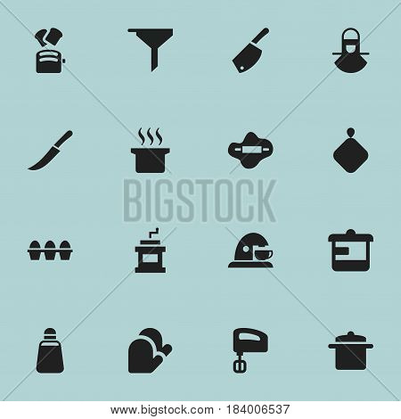 Set Of 16 Editable Cooking Icons. Includes Symbols Such As Kitchen Glove, Mocha Grinder, Rocker Blade And More. Can Be Used For Web, Mobile, UI And Infographic Design.