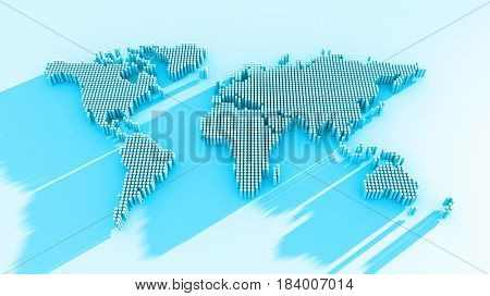 3d render of the world map in dots with a long shadow