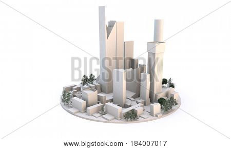 round circle of a city including modern skyscrapers