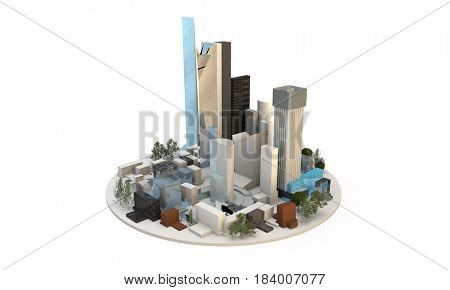 3d render of a city in a circle