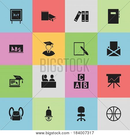 Set Of 16 Editable Education Icons. Includes Symbols Such As Bookshelf, Basket Play, Envelope And More. Can Be Used For Web, Mobile, UI And Infographic Design.