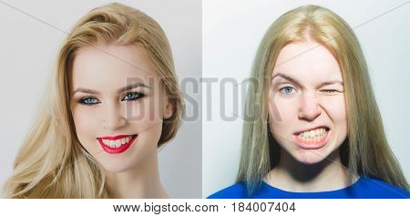 Happy Woman Or Girl Comparative Portrait With And Without Makeup