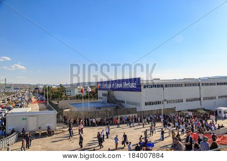 At Esenboga exam center in Ankara Turkey- April 29 2017: People at (Esenboga e-sinav merkezi) Center of electronic exams in esenboga after e-yds (electronic foreign language exam) in Ankara Turkey)