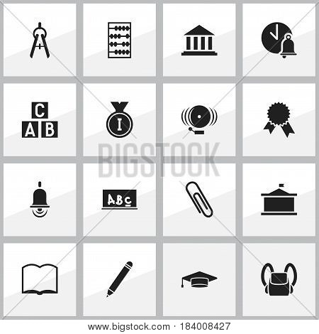 Set Of 16 Editable University Icons. Includes Symbols Such As Graduate, Staple, Math Tool And More. Can Be Used For Web, Mobile, UI And Infographic Design.