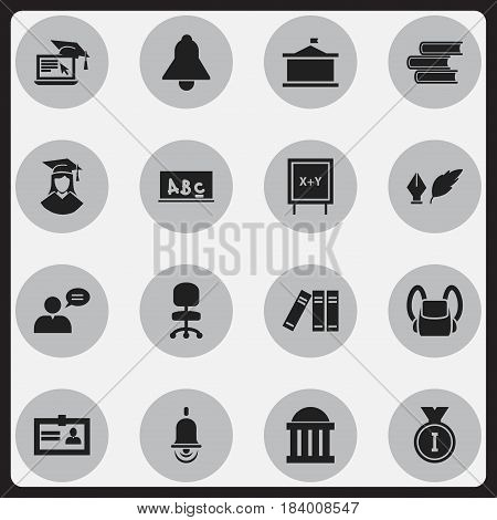 Set Of 16 Editable Science Icons. Includes Symbols Such As Distance Learning, Bell, Literature And More. Can Be Used For Web, Mobile, UI And Infographic Design.