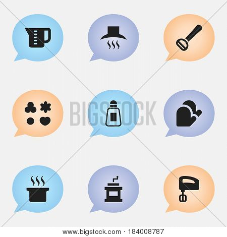 Set Of 9 Editable Food Icons. Includes Symbols Such As Husker, Agitator, Kitchen Glove And More. Can Be Used For Web, Mobile, UI And Infographic Design.