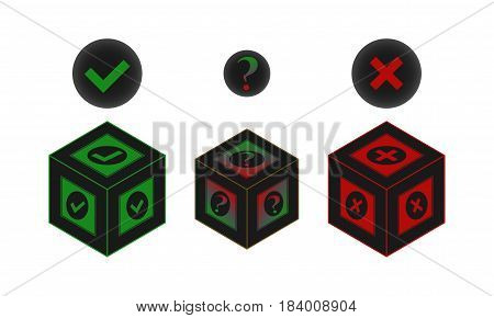 Yes or no or maybe vector sign stylized box form
