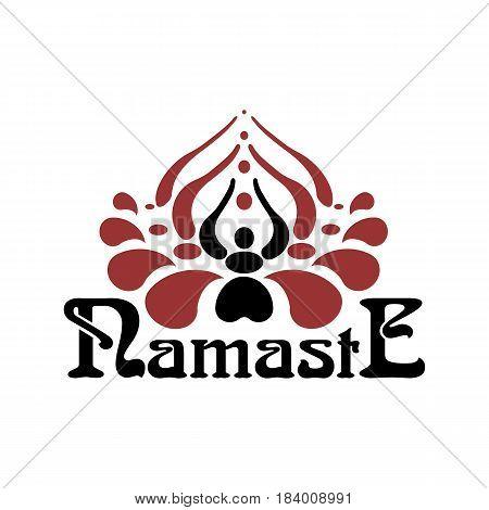 Stylized indian vector photo free trial bigstock stylized indian womans hand greeting posture of namaste inside of lotus flower namaste font mightylinksfo