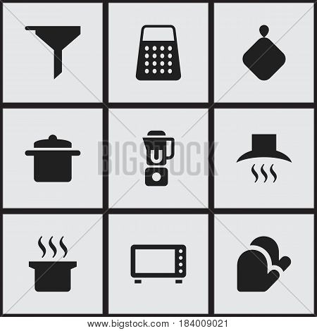 Set Of 9 Editable Food Icons. Includes Symbols Such As Filtering, Oven, Cookware And More. Can Be Used For Web, Mobile, UI And Infographic Design.