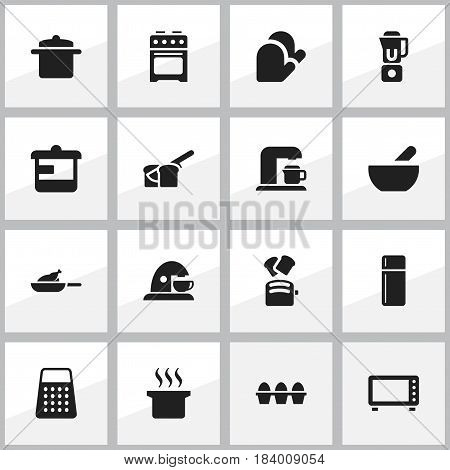 Set Of 16 Editable Food Icons. Includes Symbols Such As Drink Maker, Cup, Bakery And More. Can Be Used For Web, Mobile, UI And Infographic Design.