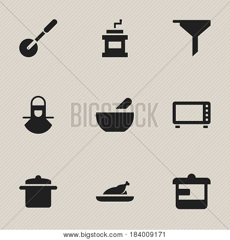Set Of 9 Editable Food Icons. Includes Symbols Such As Fried Chicken, Filtering, Soup And More. Can Be Used For Web, Mobile, UI And Infographic Design.