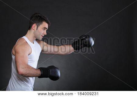Portrait Sportsman Boxer In Studio Dark Background