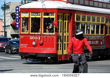NEW ORLEANS, LOUISIANA - APRYL 29, 2016: A streetcar in downtown New Orleans on Canal Street. Streetcars have been an integral part of New Orleans transportation since the early 19th century.