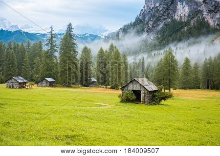 Rest place shelter in Dolomites Alps near Sella Ronda, Italy