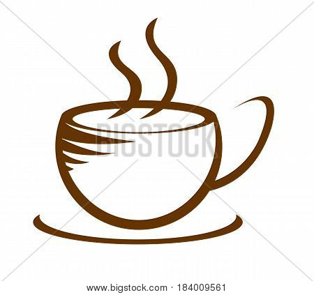 hot coffee cup icon with smoke isolated
