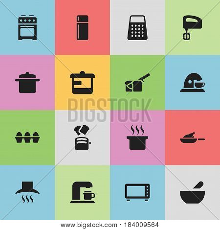 Set Of 16 Editable Cooking Icons. Includes Symbols Such As Stove, Soup Pot, Utensil And More. Can Be Used For Web, Mobile, UI And Infographic Design.