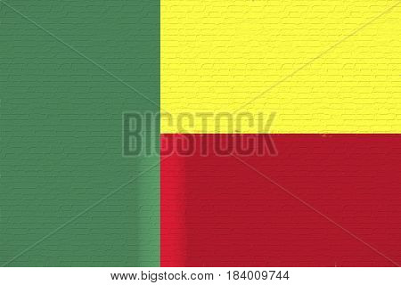 Illustration of the national flag of Benin looking like it is painted on a wall.