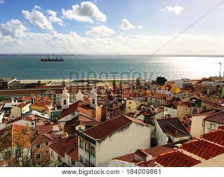 Lisbon Aerial bird view. Lisbon Portugal Panorama skyline at sunny day