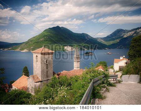 Perast village and islets in Kotor Bay, Montenegro