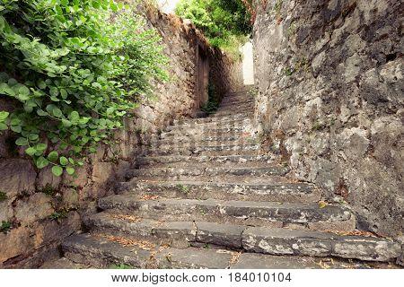 stone old staircase in Perast village, Montenegro