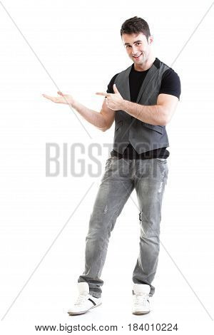 Full length portrait school boy show demonstrate palm for product presentation isolated on white