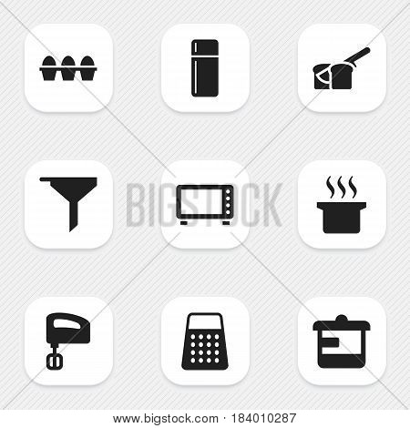 Set Of 9 Editable Food Icons. Includes Symbols Such As Shredder, Refrigerator, Utensil And More. Can Be Used For Web, Mobile, UI And Infographic Design.