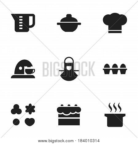 Set Of 9 Editable Meal Icons. Includes Symbols Such As Soup Pot, Cook Cap, Pastry And More. Can Be Used For Web, Mobile, UI And Infographic Design.
