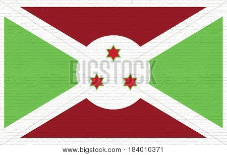 Illustration of the national flag of Burundi looking like it is painted on a wall.