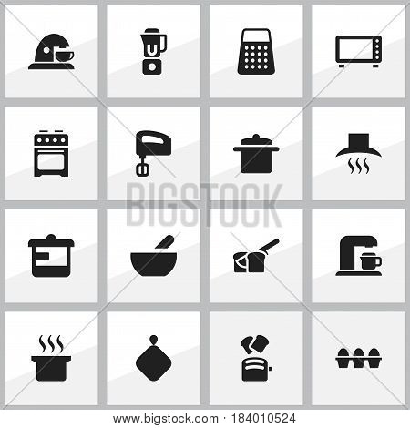 Set Of 16 Editable Cook Icons. Includes Symbols Such As Agitator, Shredder, Oven And More. Can Be Used For Web, Mobile, UI And Infographic Design.