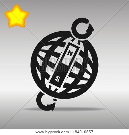compass black con button logo symbol concept high quality on the gray background