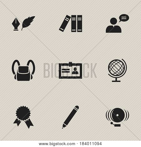 Set Of 9 Editable University Icons. Includes Symbols Such As Certification, Ring, Victory Medallion And More. Can Be Used For Web, Mobile, UI And Infographic Design.