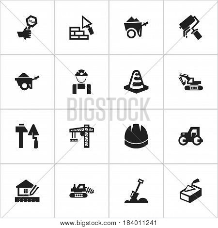 Set Of 16 Editable Building Icons. Includes Symbols Such As Notice Object, Home Scheduling, Lifting Equipment And More. Can Be Used For Web, Mobile, UI And Infographic Design.