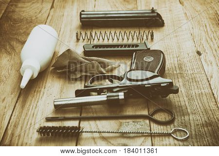 Separate Parts Of Makarov Pistol And Cleaning Kit, Vintage Effect
