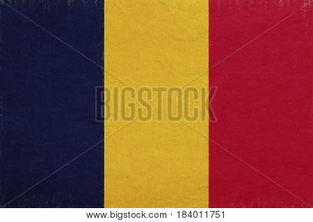 Illustration of the national flag of Chad with a grunge look.