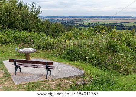 Viewpoint at Butte de Vauquois in France with an overview at the First World War One battlefield poster