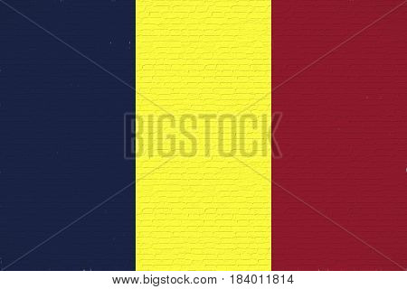 Illustration of the national flag of Chad looking like it is painted on a wall.