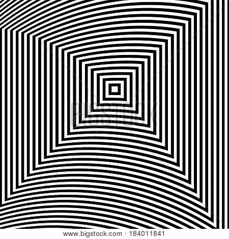 Optical Illusion Art Abstract Background. Black And White Monochrome Geometrical Hypnotic Square Pat