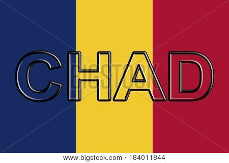 Illustration of the national flag of Chad with the country written on the flag.
