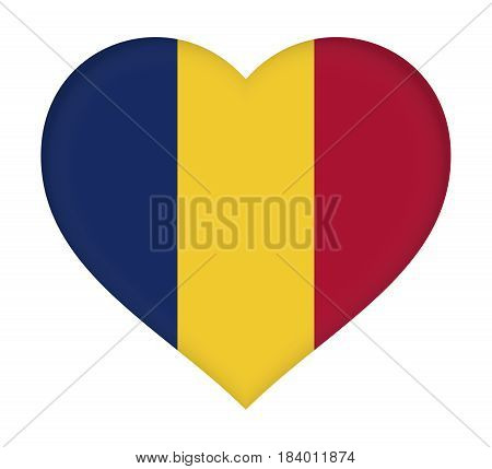 Illustration of the flag of Chad shaped like a heart.