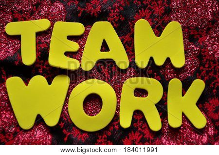 team work word on a  abstract colorful background