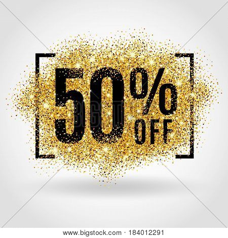 Gold sale 50 percent on gold background. Gold sale background for flyer, poster, shopping, for sale sign, discount, marketing selling banner web header. Gold blur background